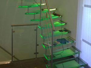 Glazen trap met led verlichting